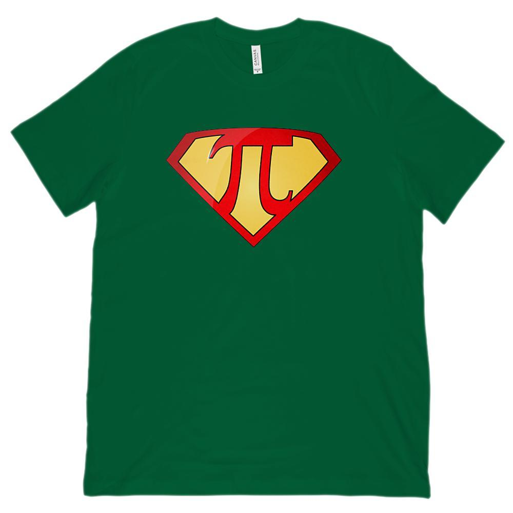 (Unisex BC 3001 Soft Tee) Super Pi Math Super Hero Teacher, Student Graphic T-Shirt Tee BOXELS