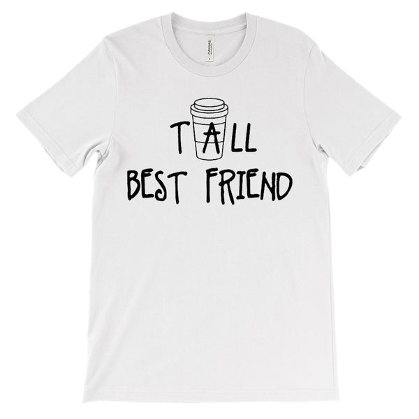 (Unisex BC 3001 Soft Tee) Tall Best Friend - Matching - Coffee (Black) Graphic T-Shirt Tee BOXELS