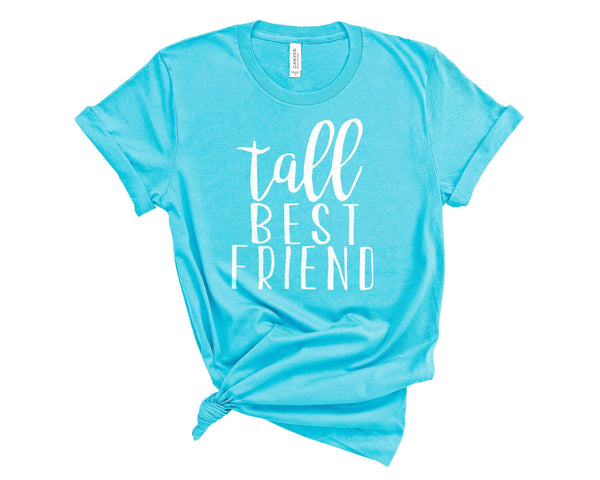 (Unisex BC 3001 Soft Tee) Tall Best Friend - Matching (white) Graphic T-Shirt Tee BOXELS
