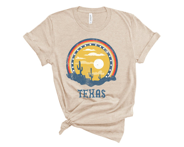(Unisex BC 3001 Soft Tee) Texas Sunset Cacti Graphic T-Shirt Tee BOXELS