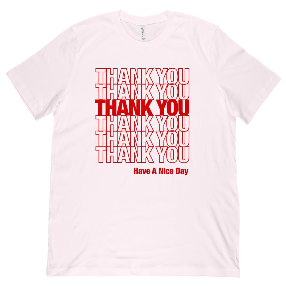 (Unisex BC 3001 Soft Tee) Thank You Thank You Grocery Bag Red Graphic T-Shirt Tee BOXELS
