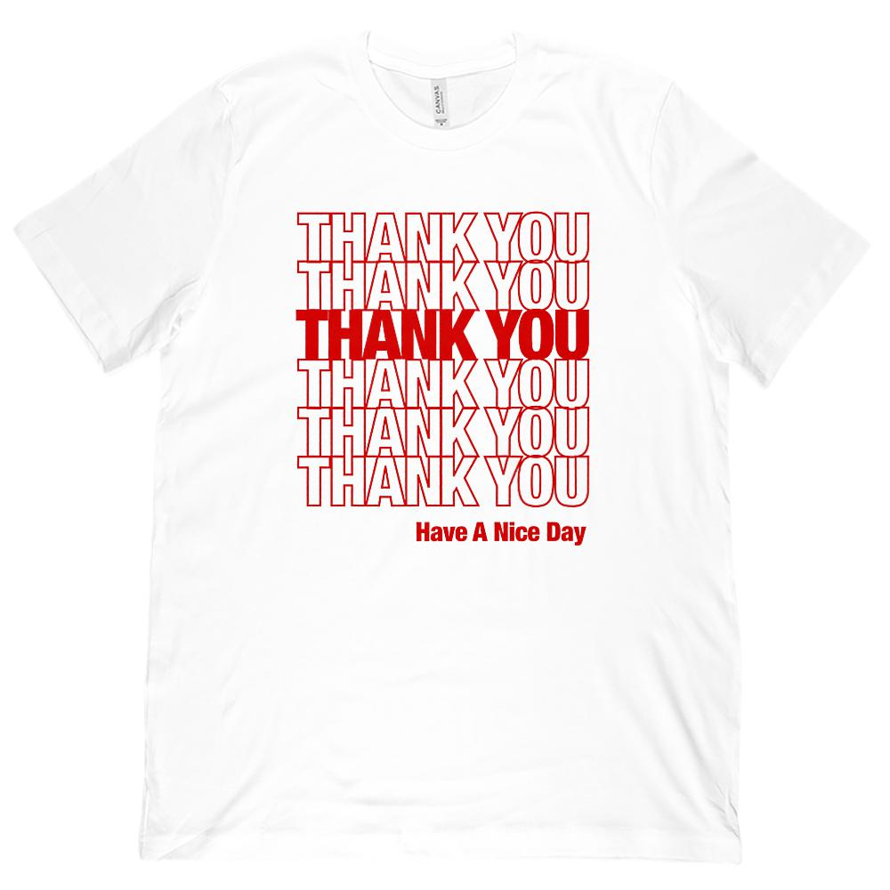 (Unisex BC 3001 Soft Tee) Thank You Thank You Grocery Bag Red