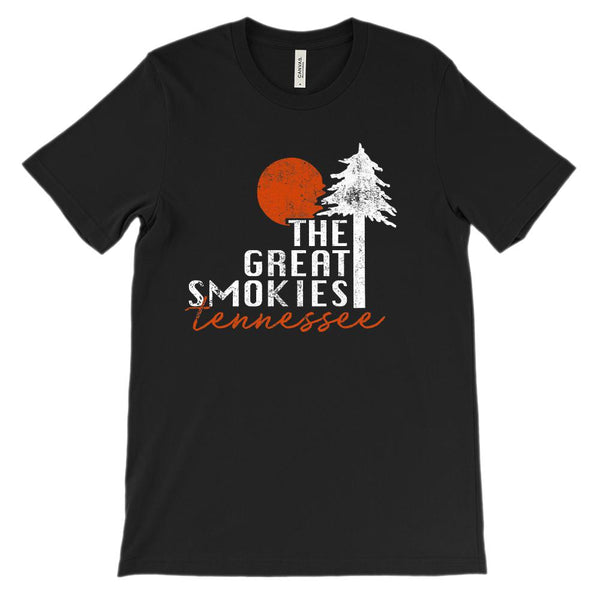 (Unisex BC 3001 Soft Tee) The Great Smokies Tennessee Graphic T-Shirt Tee BOXELS