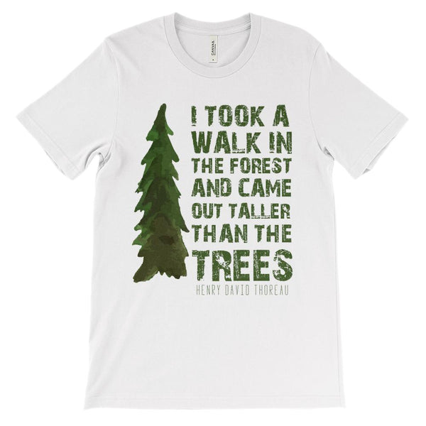(Unisex BC 3001 Soft Tee) Took a Walk in the Forest Henry David Thoreau Graphic T-Shirt Tee BOXELS