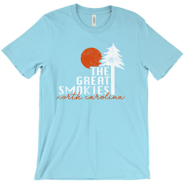 (Unisex BC 3001 Soft Tee - Turquoise) Great Smokies North Carolina NC Graphic T-Shirt Tee BOXELS