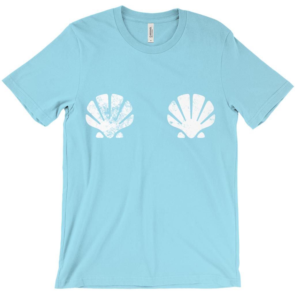 (unisex BC 3001 Soft Tee - Turquoise) Sea Shells Covering Chest
