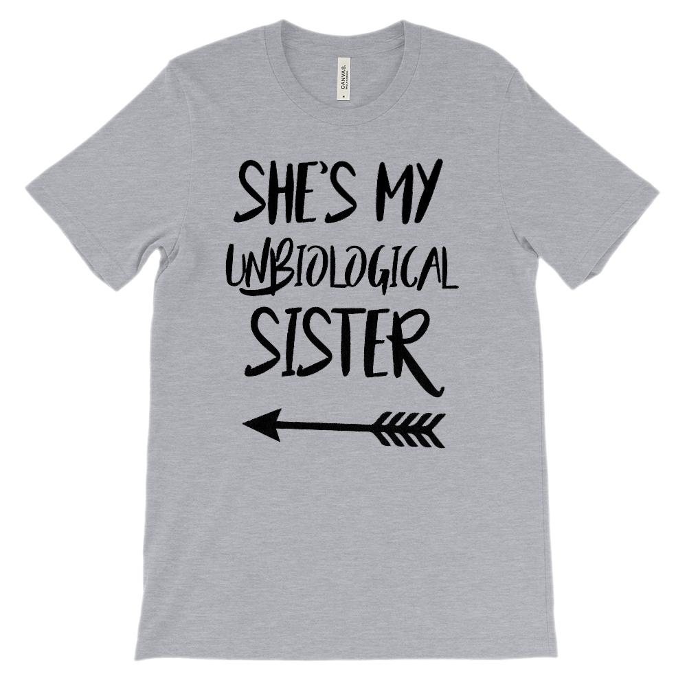 (Unisex BC 3001 Soft Tee) Unbiological Sister - Matching Set (Left Arrow) Graphic T-Shirt Tee BOXELS