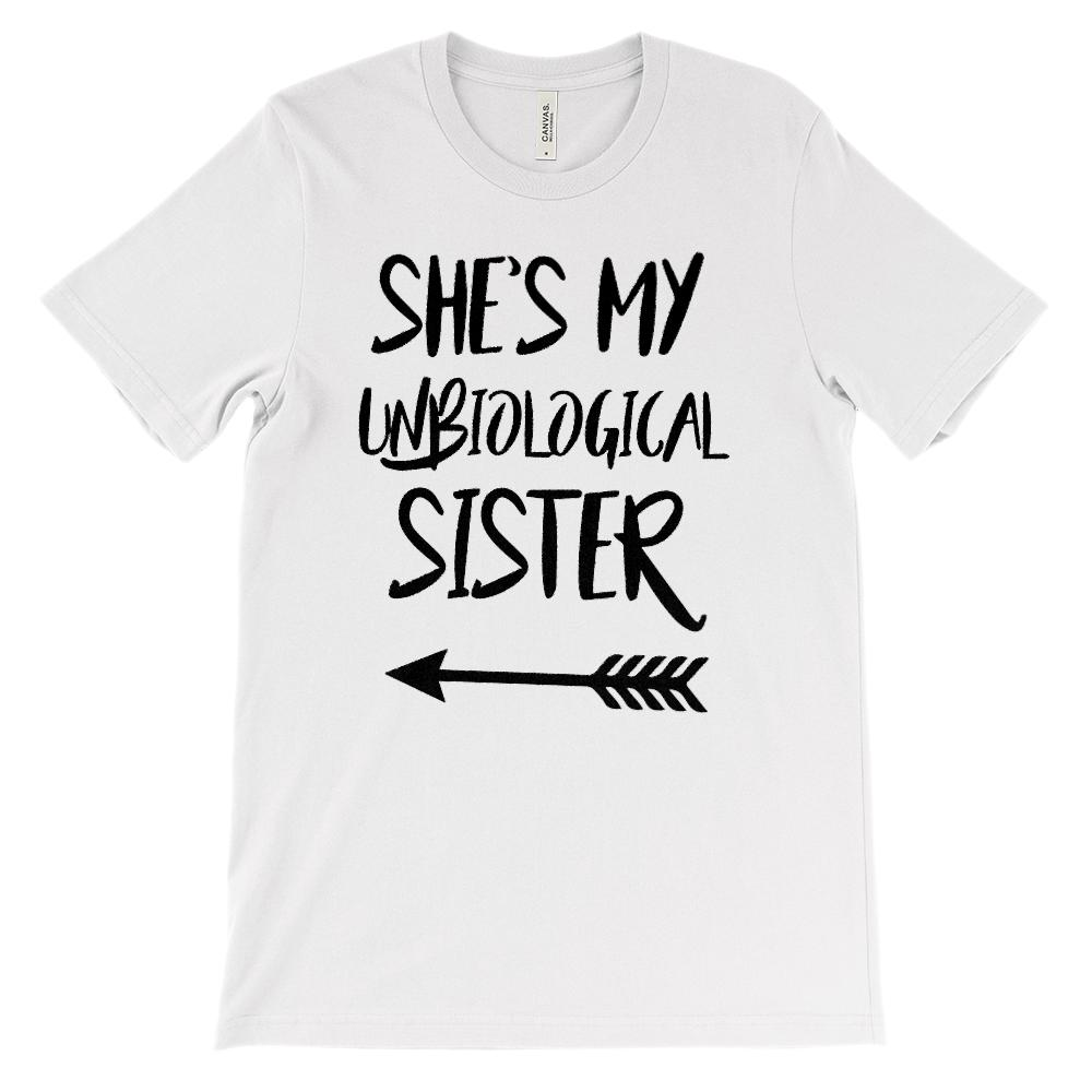 (Unisex BC 3001 Soft Tee) Unbiological Sister - Matching Set (Left Arrow)