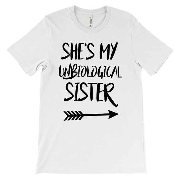 (Unisex BC 3001 Soft Tee) Unbiological Sister - Matching Set (Right Arrow) Graphic T-Shirt Tee BOXELS