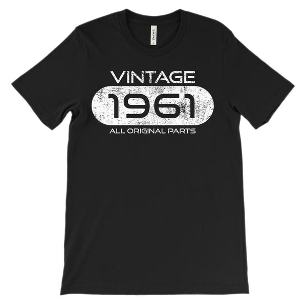 (Unisex BC 3001 Soft Tee) Vintage 1961 All Original Parts (White Font) Graphic T-Shirt Tee BOXELS