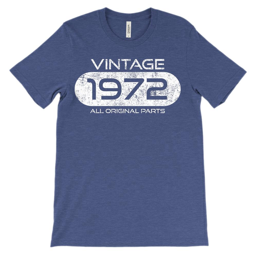 (Unisex BC 3001 Soft Tee) Vintage 1972 All Original Parts (White Font) Graphic T-Shirt Tee BOXELS