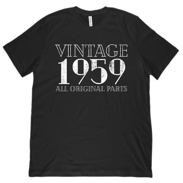 (Unisex BC 3001 Soft Tee) Vintage All Original Parts 1959 - Made in Year Graphic T-Shirt Tee BOXELS