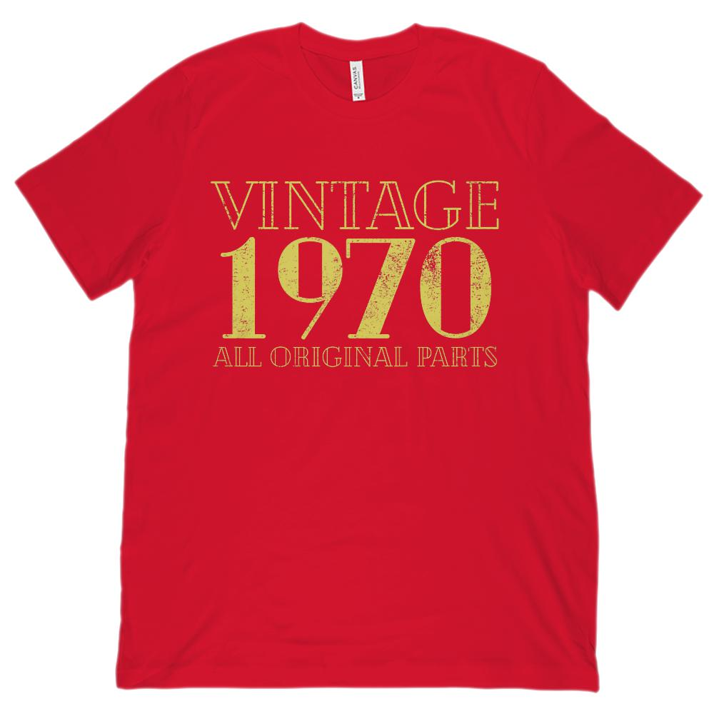 (Unisex BC 3001 Soft Tee) Vintage All Original Parts 1970 Yellow - Made in Year Graphic T-Shirt Tee BOXELS
