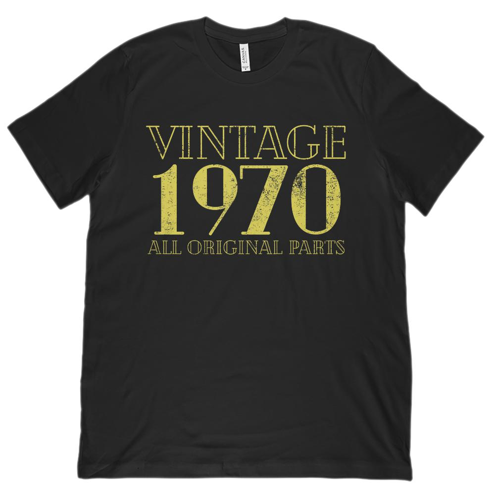 (Unisex BC 3001 Soft Tee) Vintage All Original Parts 1970 Yellow - Made in Year