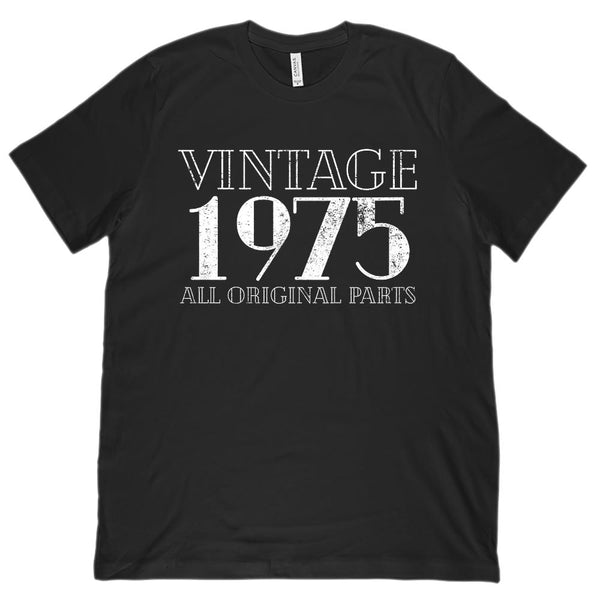 (Unisex BC 3001 Soft Tee) Vintage All Original Parts 1975 - Made in Year Graphic T-Shirt Tee BOXELS
