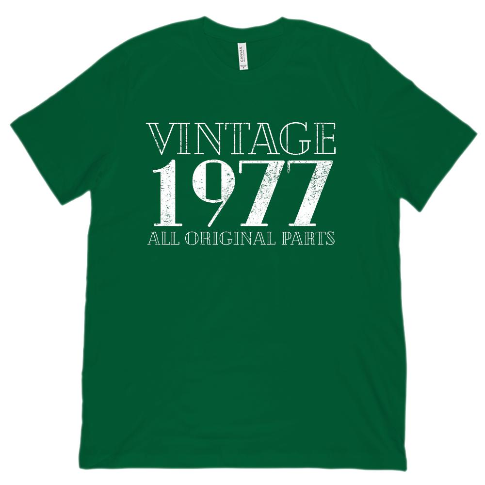 (Unisex BC 3001 Soft Tee) Vintage All Original Parts 1977 - Made in Year Graphic T-Shirt Tee BOXELS