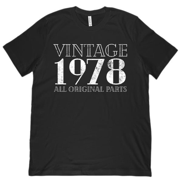 (Unisex BC 3001 Soft Tee) Vintage All Original Parts 1978 - Made in Year Graphic T-Shirt Tee BOXELS