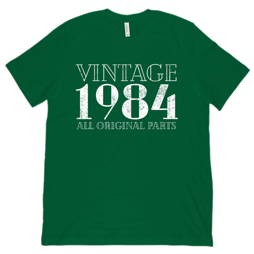 (Unisex BC 3001 Soft Tee) Vintage All Original Parts 1984 - Made in Year Graphic T-Shirt Tee BOXELS