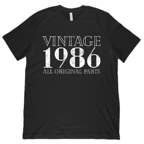 (Unisex BC 3001 Soft Tee) Vintage All Original Parts 1986 - Made in Year Graphic T-Shirt Tee BOXELS