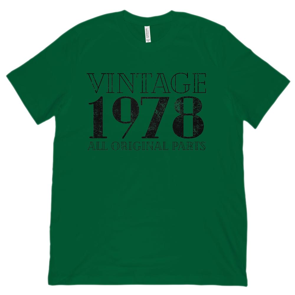 (Unisex BC 3001 Soft Tee) Vintage All Original Parts Black 1978 - Made in Year Graphic T-Shirt Tee BOXELS