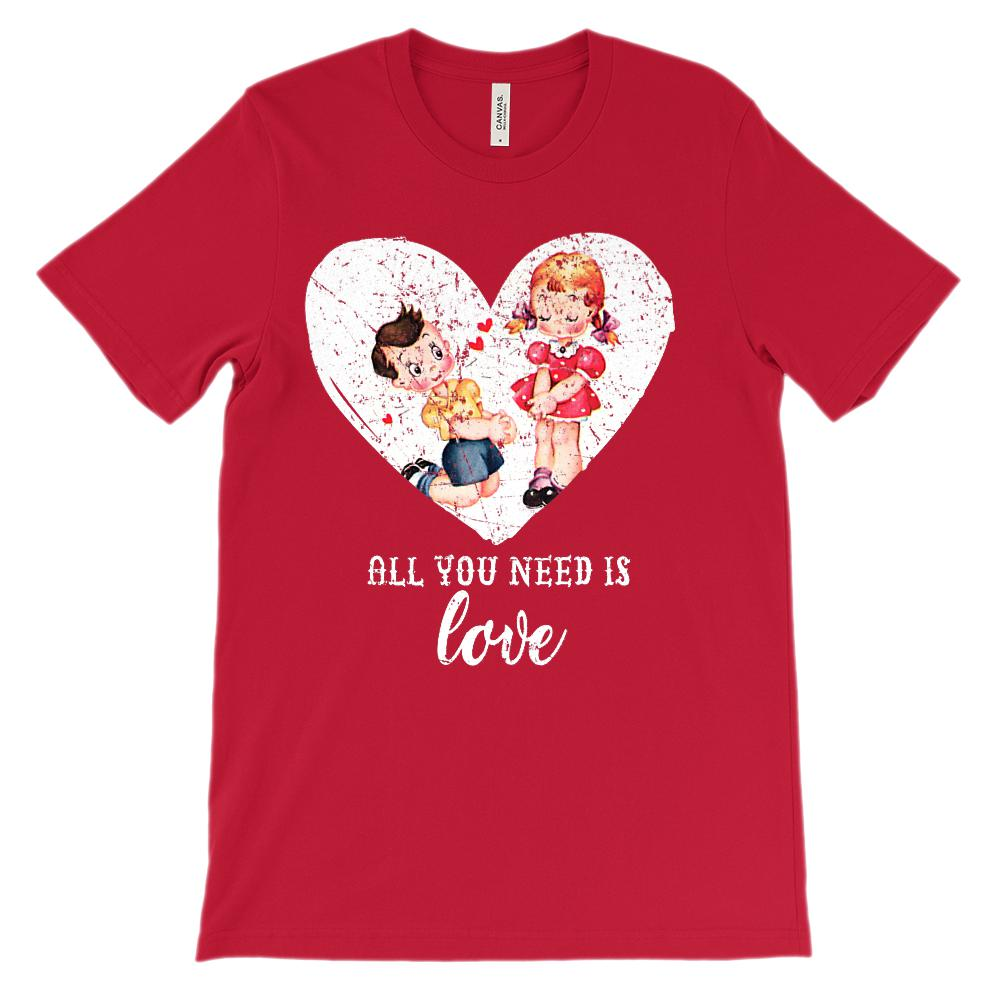 (Unisex BC 3001 Soft Tee) Vintage Valentine All You Need is Love
