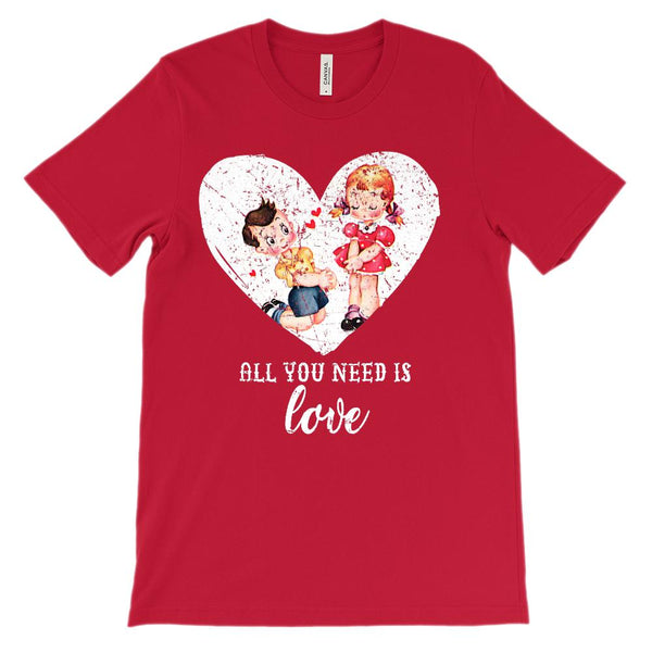 (Unisex BC 3001 Soft Tee) Vintage Valentine All You Need is Love Graphic T-Shirt Tee BOXELS