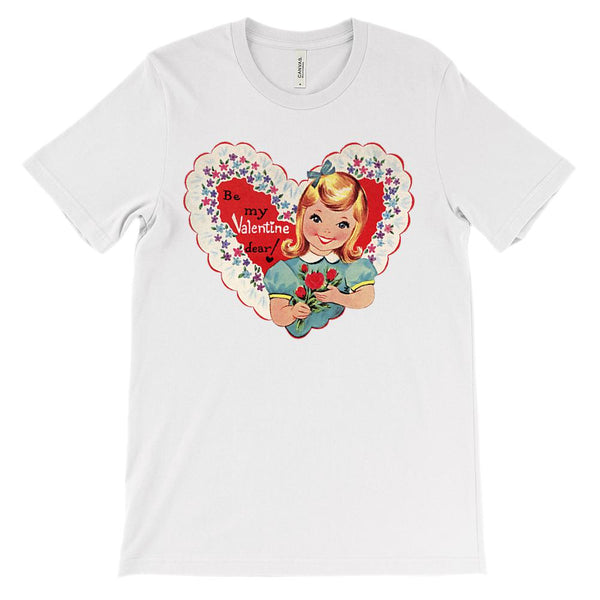 (Unisex BC 3001 Soft Tee) Vintage Valentine Be My Valentine Graphic T-Shirt Tee BOXELS