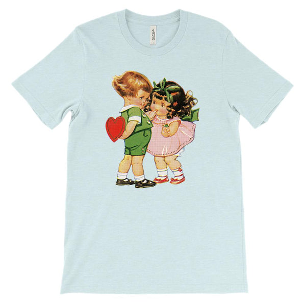 (Unisex BC 3001 Soft Tee) Vintage Valentine Whispering Graphic T-Shirt Tee BOXELS