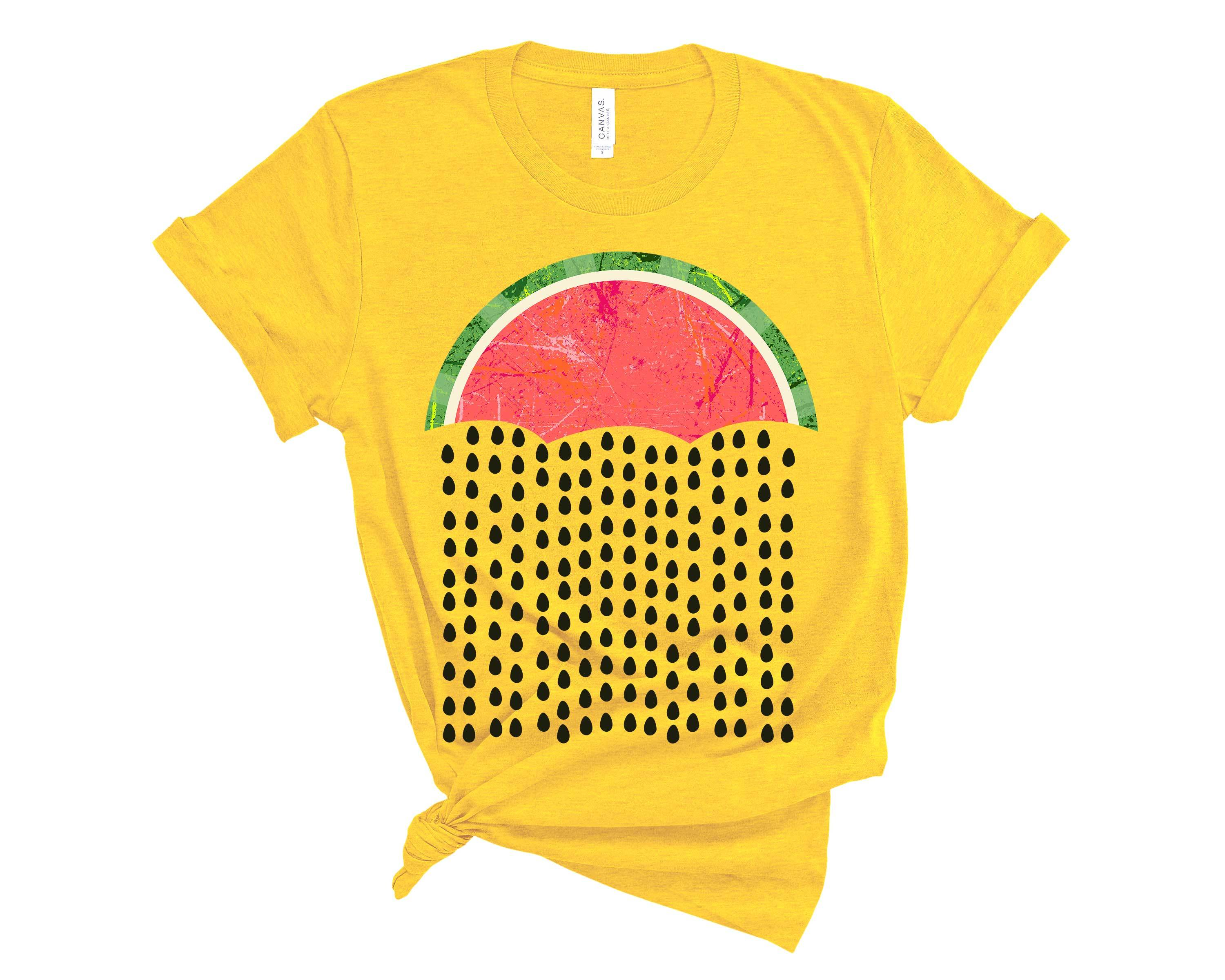 (Unisex BC 3001 Soft Tee) Watermelon Raindrops Umbrella Graphic T-Shirt Tee BOXELS