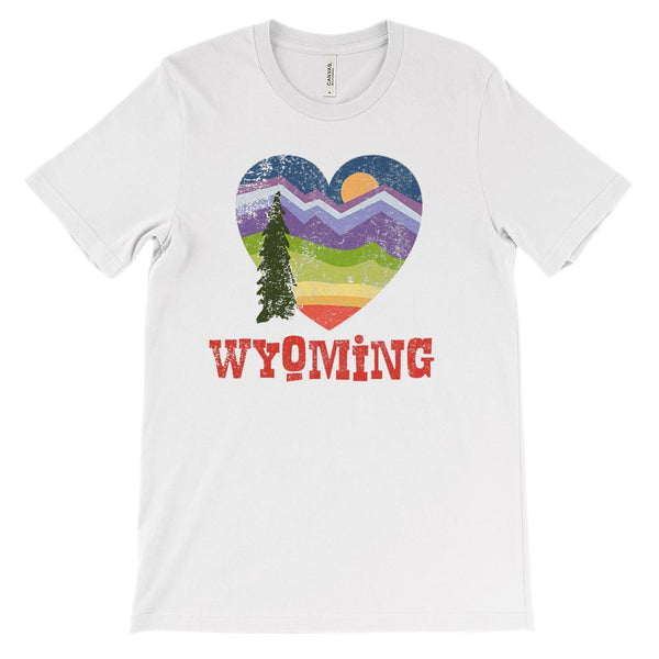 (Unisex BC 3001 Soft Tee) Wyoming Heart Scenic Graphic T-Shirt Tee BOXELS