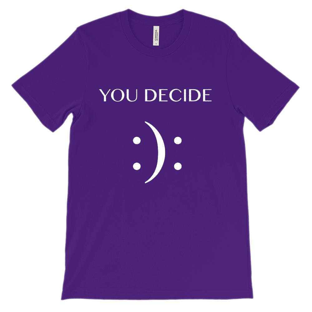 (Unisex BC 3001 Soft Tee) You Decide (Happy or Sad Emoji Emoticon) White Graphic T-Shirt Tee BOXELS