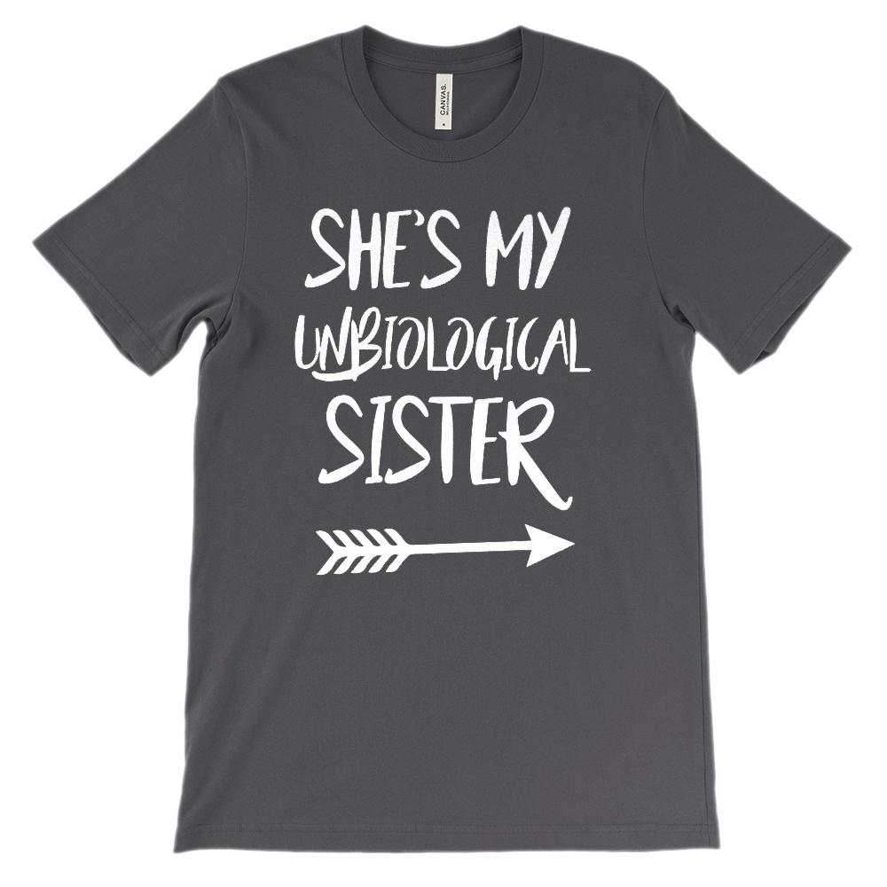 (Unisex BC 3001 Soft) Unbiological Sister - Matching Set (White, Right Arrow) Graphic T-Shirt Tee BOXELS