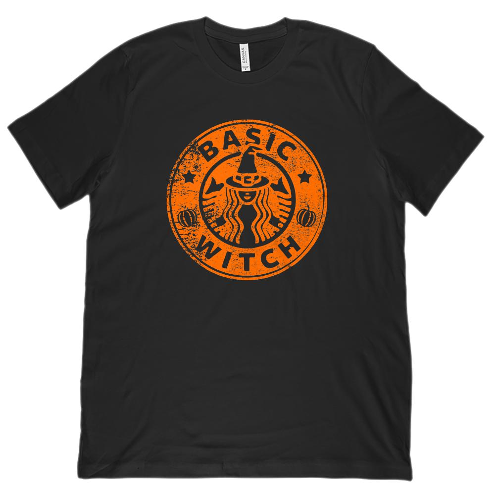(Unisex BC 3001 Super Soft Tee) Basic Witch Coffee Parody Halloween Orange