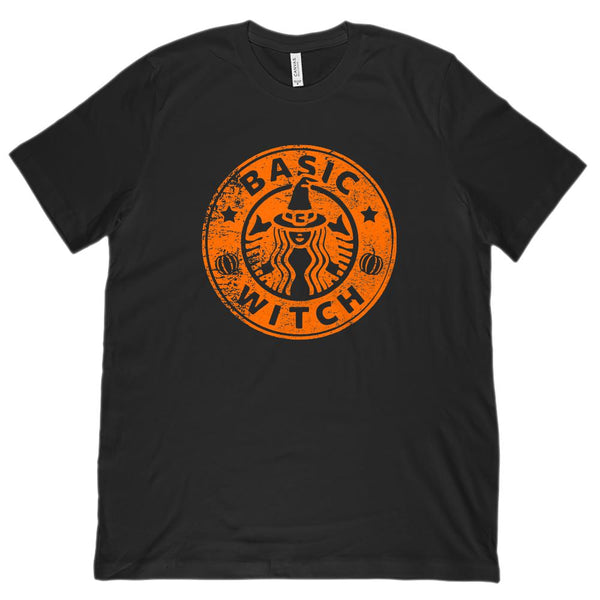 (Unisex BC 3001 Super Soft Tee) Basic Witch Coffee Parody Halloween Orange Graphic T-Shirt Tee BOXELS