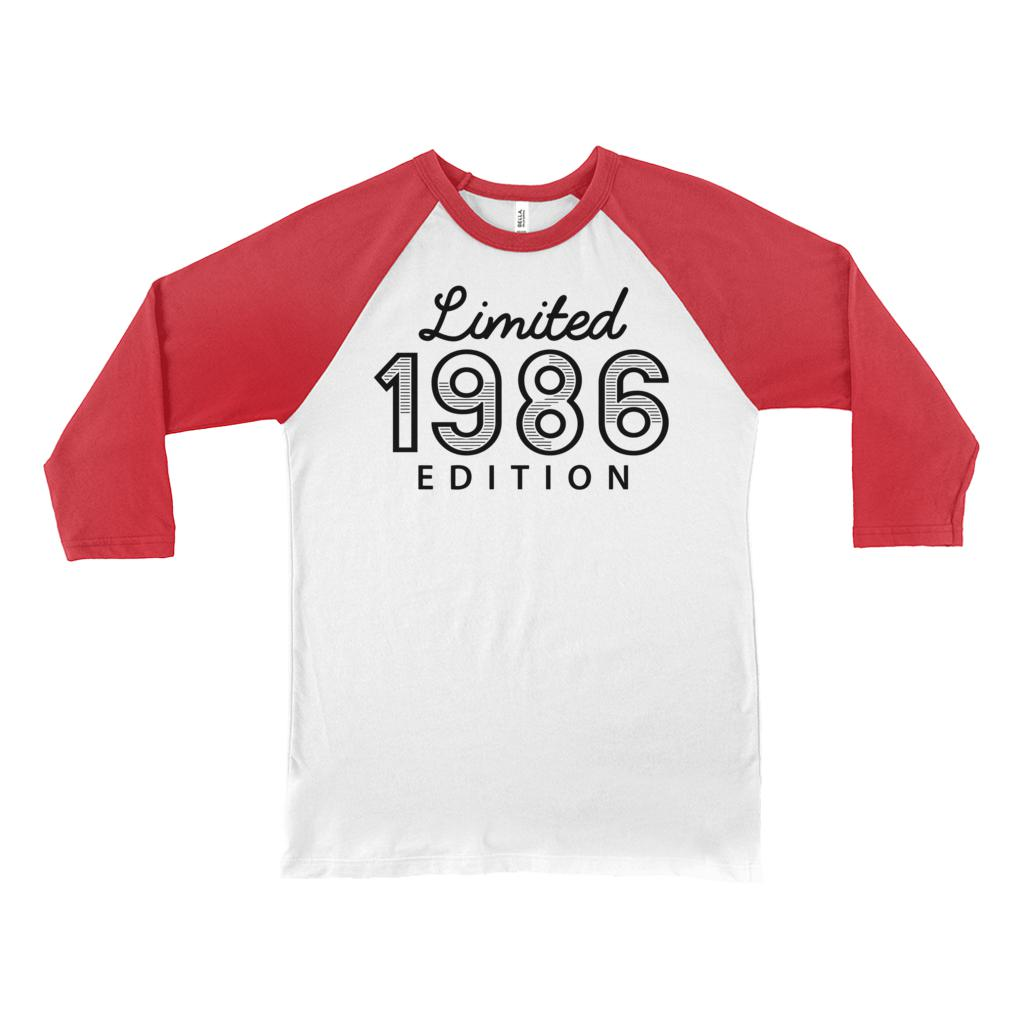(Unisex BC Raglan 3200) Limited Edition Retro 1986 Graphic T-Shirt Tee BOXELS