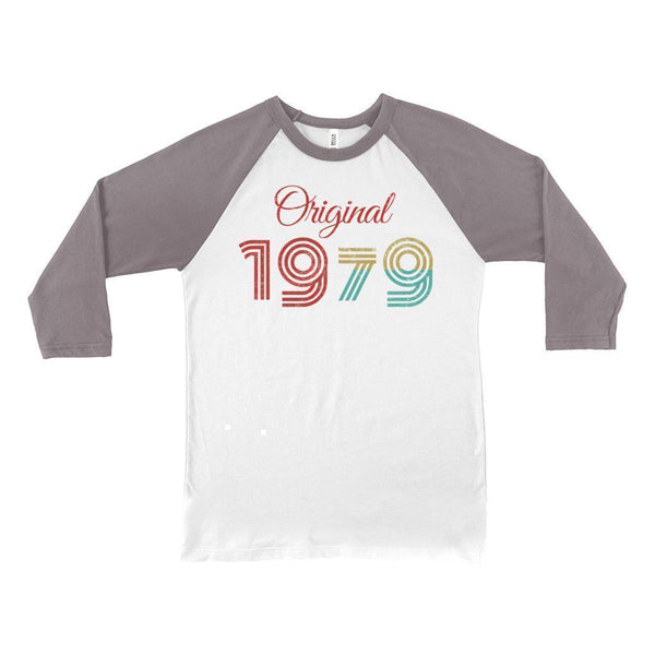 (Unisex BC Raglan 3200) Original 1 Year Retro 1979 Graphic T-Shirt Tee BOXELS