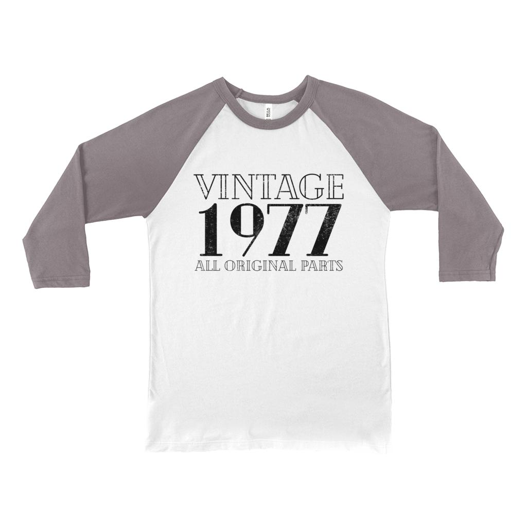 (Unisex BC Raglan 3200) Vintage 1977 Original Parts Graphic T-Shirt Tee BOXELS
