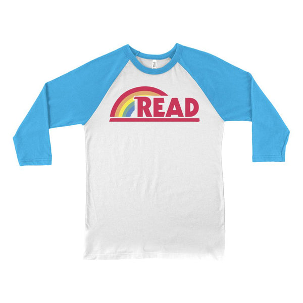 (Unisex BC Soft Baseball Tee) Reading Rainbow Teacher Readaholic Graphic T-Shirt Tee BOXELS