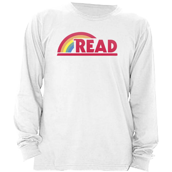 (Unisex BC Soft Long Sleeve) Reading Rainbow Teacher Readaholic Graphic T-Shirt Tee BOXELS