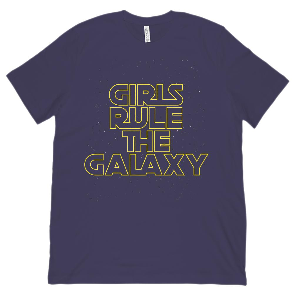 (Unisex Bella Canvas 3001 Soft Tee) Girls Rule The Galaxy Space War Star Graphic T-Shirt Tee BOXELS