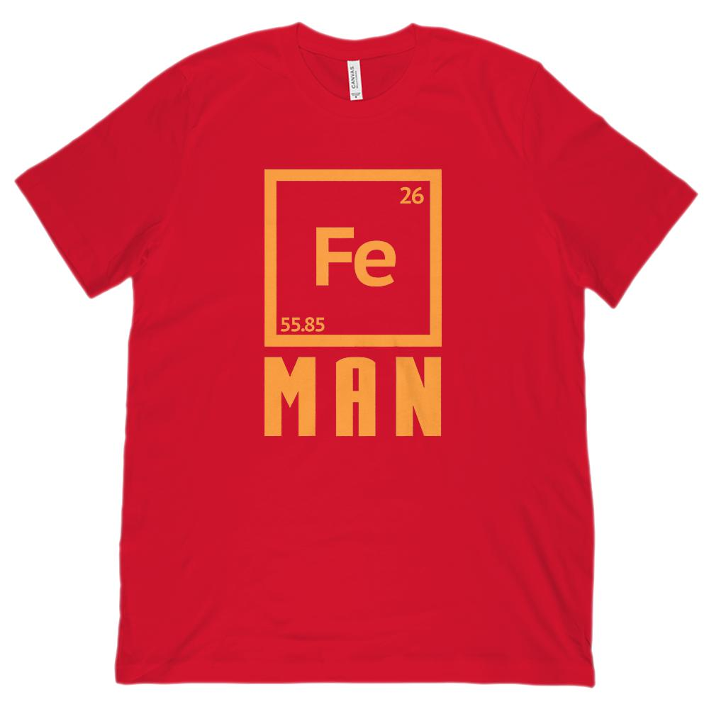 (Unisex Bella Canvas 3001 Soft Tee) Iron Fe (chemistry) Man Parody Graphic T-Shirt Tee BOXELS