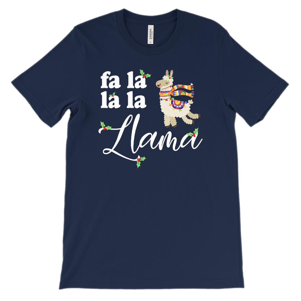 (Unisex Soft BC 3001) Fa La La La Llama (kawaii cute llama) Christmas Holiday Graphic T-Shirt Tee BOXELS