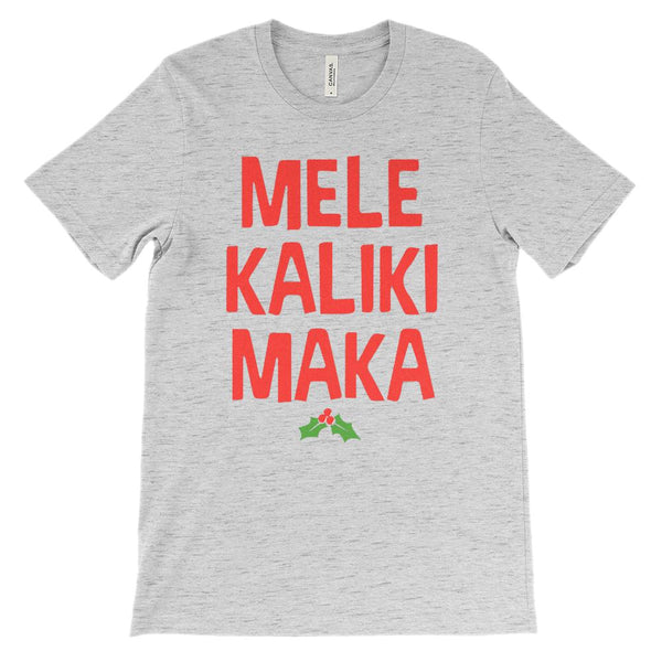 (Unisex Soft BC 3001 - Light Colors) Mele KalikiMaka Merry Christmas Hawaii Graphic T-Shirt Tee BOXELS