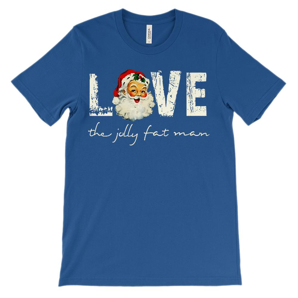 (Unisex Soft BC 3001) Santa the Jolly Fat Man Love Retro Vintage Graphic T-Shirt Tee BOXELS