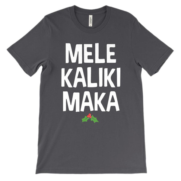 (Unisex Soft BC 3001 - White Font) Mele KalikiMaka Merry Christmas Hawaiian Graphic T-Shirt Tee BOXELS