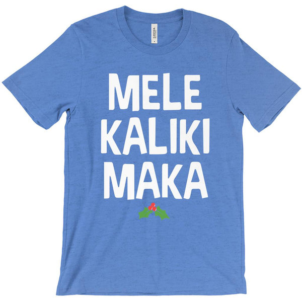 (Unisex Soft BC 3001 - White Font, Other Colors) Mele KalikiMaka Merry Christmas Hawaiian Graphic T-Shirt Tee BOXELS