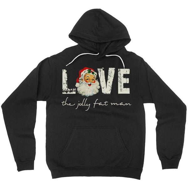(Unisex Soft Hoodies (No-Zip/Pullover) Santa the Jolly Fat Man Love Retro Vintage Graphic T-Shirt Tee BOXELS