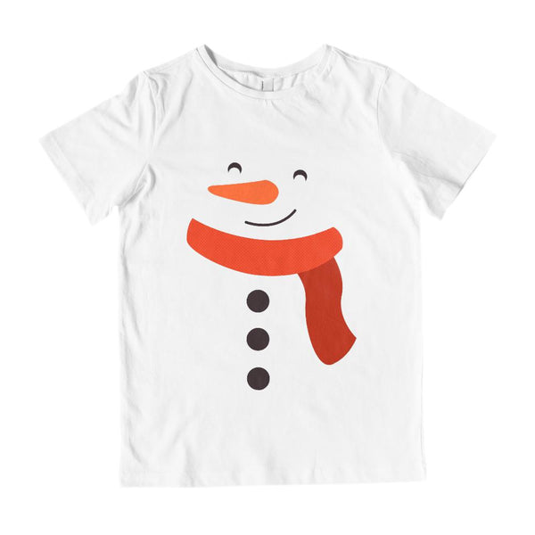 (Unisex Youth & Kids Cotton Tee) Snowman Face Body Snow Graphic T-Shirt Tee BOXELS