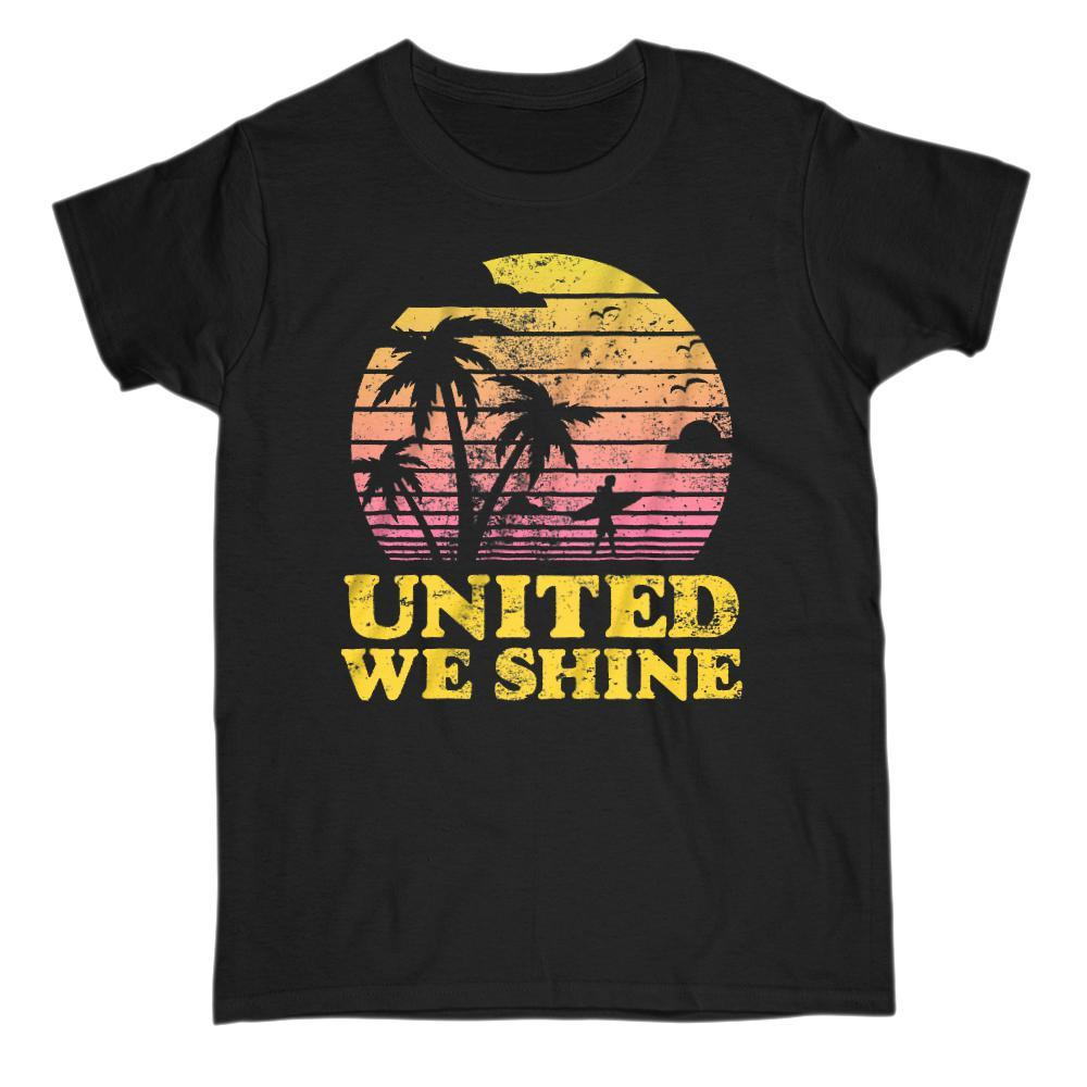 United We Shine Sunny Tropical Palms Patriotic Islander T-Shirt Graphic T-Shirt Tee BOXELS