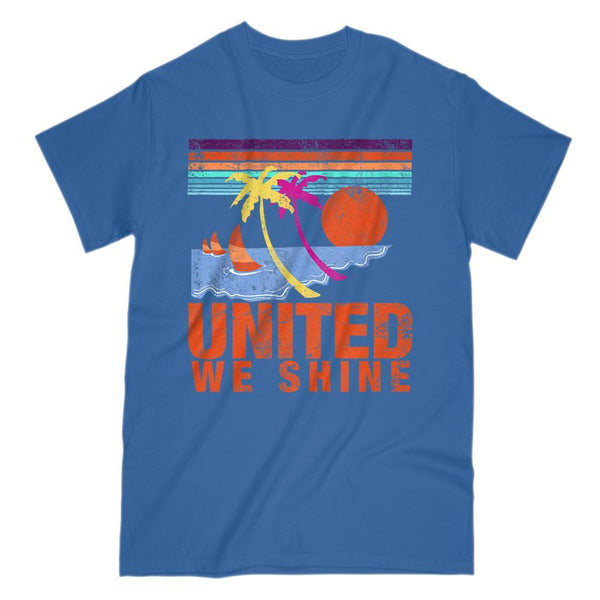 United We Shine Tropical Patriotic Islander T-Shirt Graphic T-Shirt Tee BOXELS